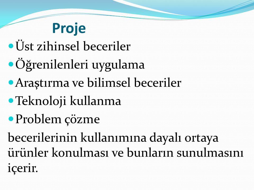 Proje Üst zihinsel beceriler Öğrenilenleri uygulama Araştırma ve bilimsel beceriler Teknoloji kullanma Problem çözme becerilerinin kullanımına dayalı ortaya ürünler konulması ve bunların sunulmasını içerir.