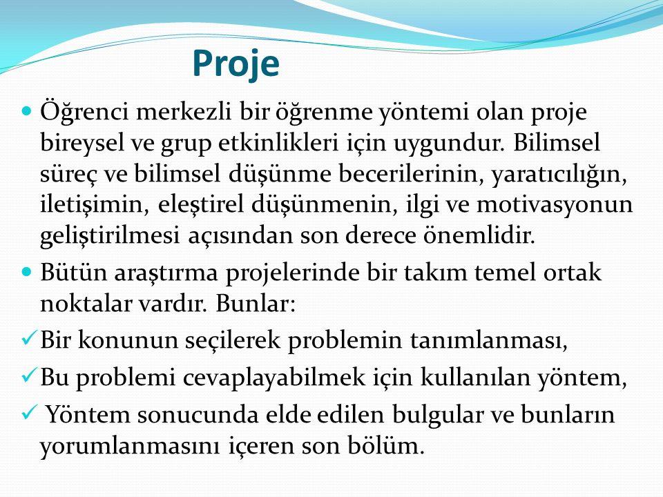 Proje Öğrenci merkezli bir öğrenme yöntemi olan proje bireysel ve grup etkinlikleri için uygundur.