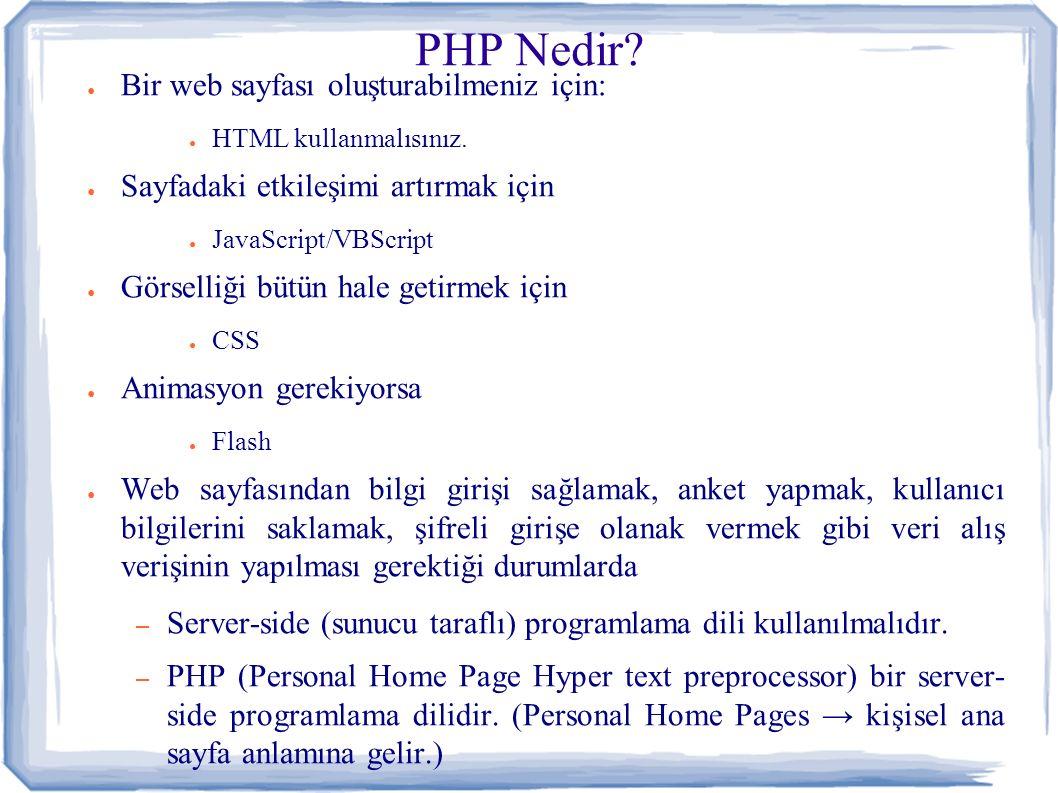 PHP Nedir. ● Bir web sayfası oluşturabilmeniz için: ● HTML kullanmalısınız.