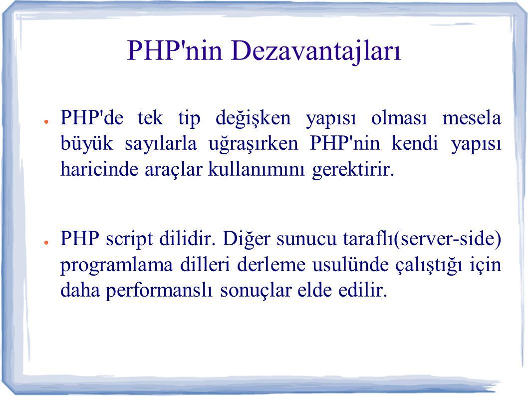 PHP nin Dezavantajları ● PHP de tek tip değişken yapısı olması mesela büyük sayılarla uğraşırken PHP nin kendi yapısı haricinde araçlar kullanımını gerektirir.