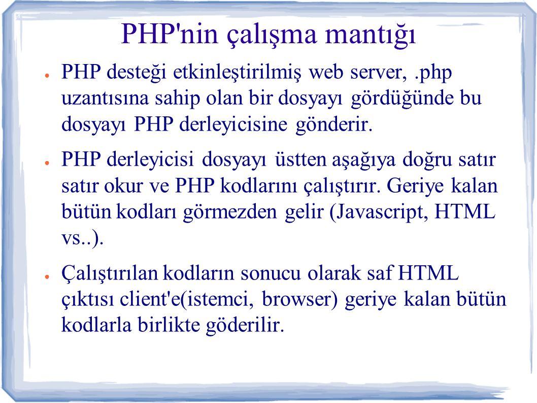 PHP nin çalışma mantığı ● Örnek olarak aşağıdaki.php uzantılı dosya sunucudan client tarafından istendiğinde: – – document.writeln( Merhaba ); – ● Göderilen sayfanın Client te (browser de) kaynak koduna bakıldığında kod şöyledir: – – document.writeln( Merhaba ); – – Dünya –