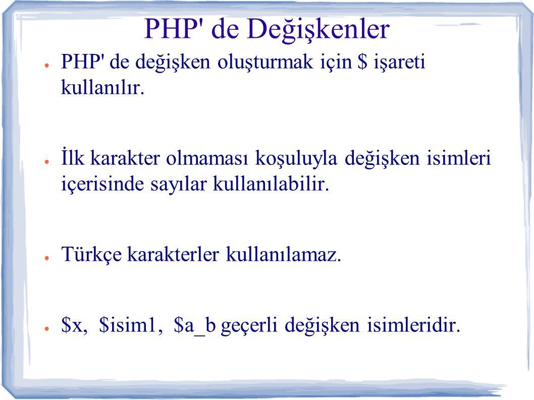 PHP de Değişkenler ● PHP de değişken oluşturmak için $ işareti kullanılır.
