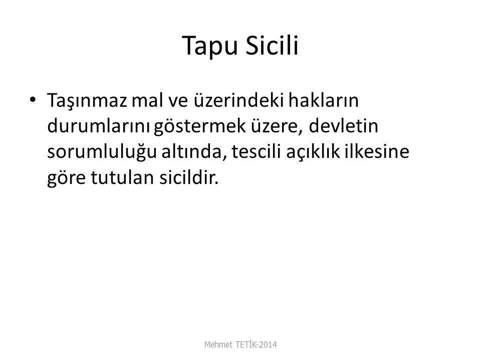 İrtifak Hakkının Sona Erdiği Durumlar Mehmet TETİK-2014