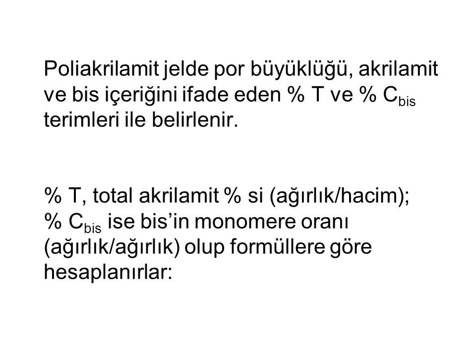 Poliakrilamit jelde por büyüklüğü, akrilamit ve bis içeriğini ifade eden % T ve % C bis terimleri ile belirlenir.