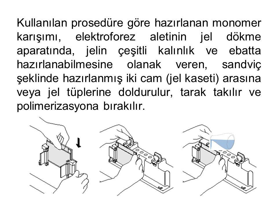 Kullanılan prosedüre göre hazırlanan monomer karışımı, elektroforez aletinin jel dökme aparatında, jelin çeşitli kalınlık ve ebatta hazırlanabilmesine