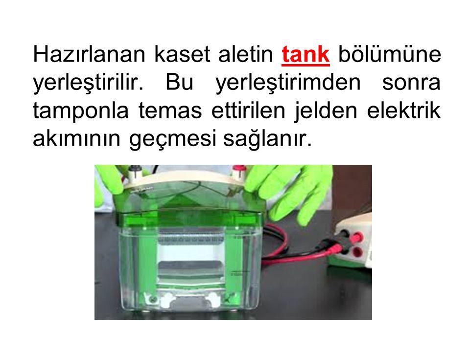 Hazırlanan kaset aletin tank bölümüne yerleştirilir.
