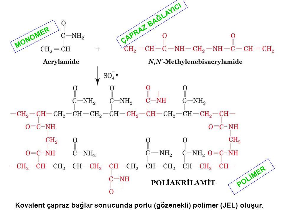 POLİAKRİLAMİT MONOMER ÇAPRAZ BAĞLAYICI POLİMER Kovalent çapraz bağlar sonucunda porlu (gözenekli) polimer (JEL) oluşur.