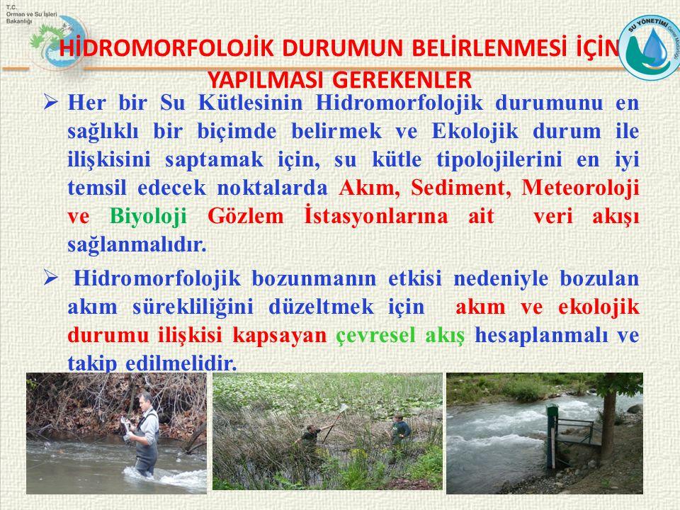 HİDROMORFOLOJİK DURUMUN BELİRLENMESİ İÇİN YAPILMASI GEREKENLER  Her bir Su Kütlesinin Hidromorfolojik durumunu en sağlıklı bir biçimde belirmek ve Ek