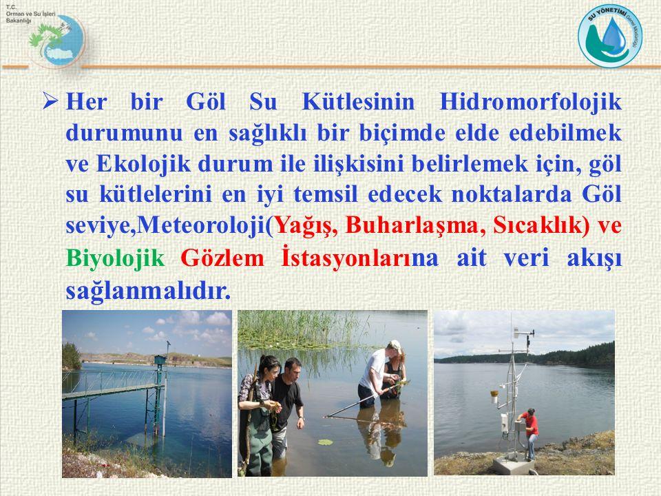  Her bir Göl Su Kütlesinin Hidromorfolojik durumunu en sağlıklı bir biçimde elde edebilmek ve Ekolojik durum ile ilişkisini belirlemek için, göl su k