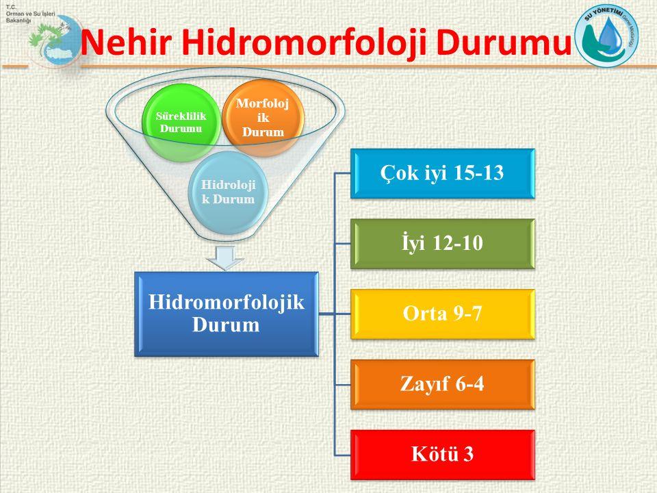 Nehir Hidromorfoloji Durumu Hidromorfolojik Durum Çok iyi 15-13 İyi 12-10 Orta 9-7 Zayıf 6-4 Kötü 3 Hidroloji k Durum Süreklilik Durumu Morfoloj ik Du
