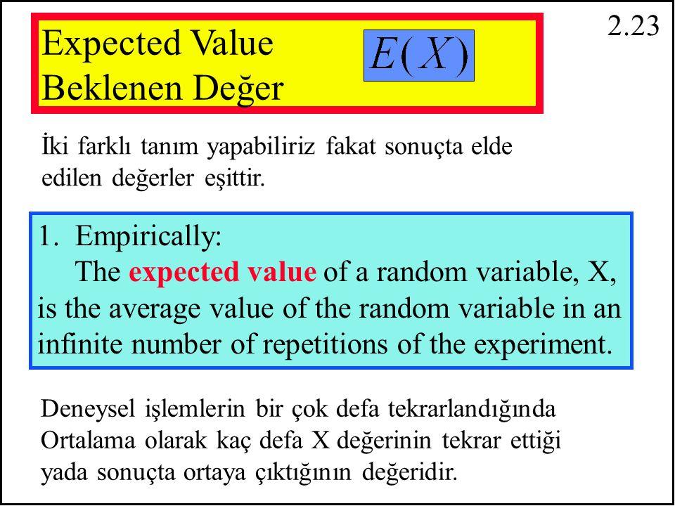2.22 Rassal değişkenin aritmetik ortalaması o serinin matematiksel beklentileri (umulan) değerine eşittir.