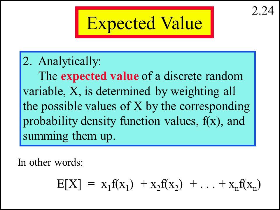 2.23 Expected Value Beklenen Değer İki farklı tanım yapabiliriz fakat sonuçta elde edilen değerler eşittir. 1. Empirically: The expected value of a ra