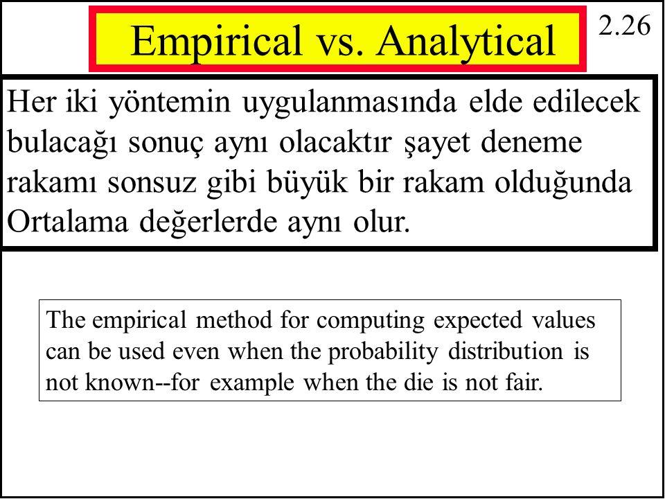 2.25 Örnek: Oyun Zarının Bir Defa Atılmasında olası sonuçlarının ortalaması Yorumu: Çok büyük bir deneme sonucunda (10000 defa zarın atıldığını düşünün) zar sonuçlarının ortalama degerinin e 3.5