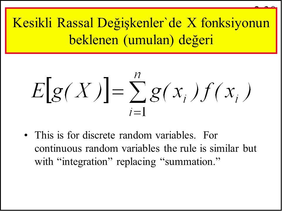 2.29 E X =  x i f(x i ) i=1 n X-karesi …. Umulan (Beklenen) değeri : E X =  x i f(x i ) i=1 n 2 2 Burdaki önemli özellik f(x i ) hiçbir zaman de