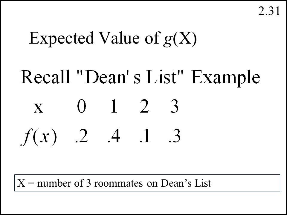 2.30 Kesikli Rassal Değişkenler`de X fonksiyonun beklenen (umulan) değeri This is for discrete random variables.