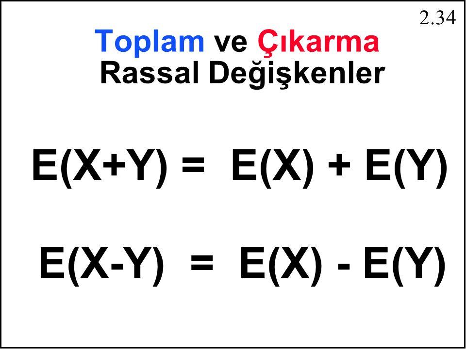 2.33 E [g(X)] =  g ( x i ) f(x i ) n i = 1 g(X) = g 1 (X) + g 2 (X) E [g(X)] =  g 1 (x i ) + g 2 (x i )] f(x i ) n i = 1 E [g(X)] =  g 1 (x i ) f(x i ) +  g 2 (x i ) f(x i ) n i = 1 n E [g(X)] = E [g 1 (X)] + E [g 2 (X)]