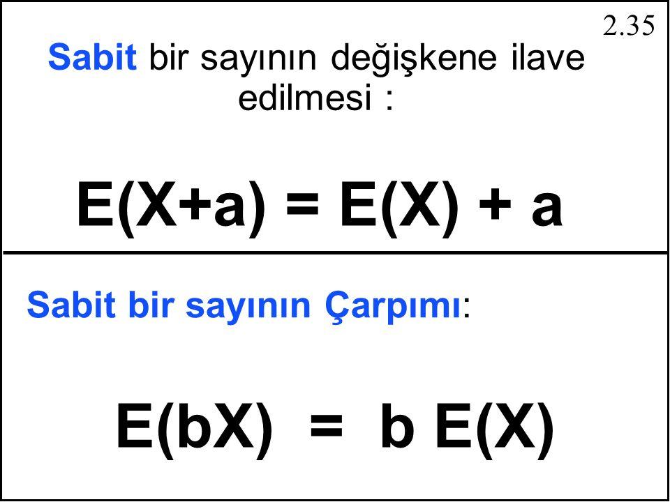 2.34 Toplam ve Çıkarma Rassal Değişkenler E(X-Y) = E(X) - E(Y) E(X+Y) = E(X) + E(Y)