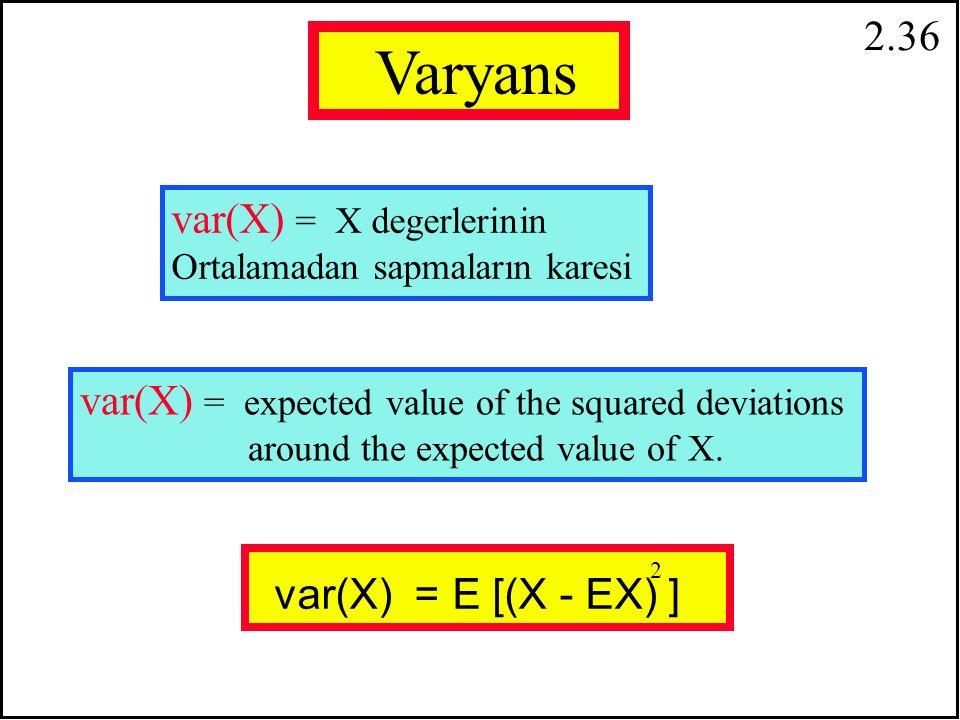 2.35 E(X+a) = E(X) + a Sabit bir sayının değişkene ilave edilmesi : Sabit bir sayının Çarpımı: E(bX) = b E(X)