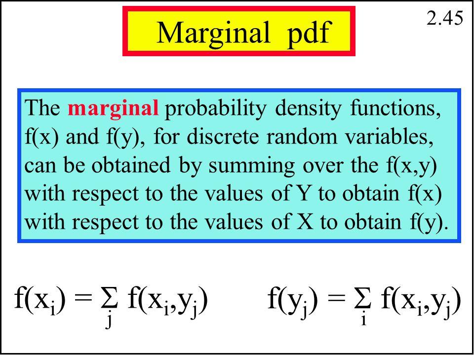 2.44 E[g(X,Y)] =   g(x i,y j ) f(x i,y j ) i j E(XY) = (0)(1)(.45)+(0)(2)(.15)+(1)(1)(.05)+(1)(2)(.35)=.75 E(XY) =   x i y j f(x i,y j ) i j İki Random Değişkenin Beklenen Değerlerinin hesabı