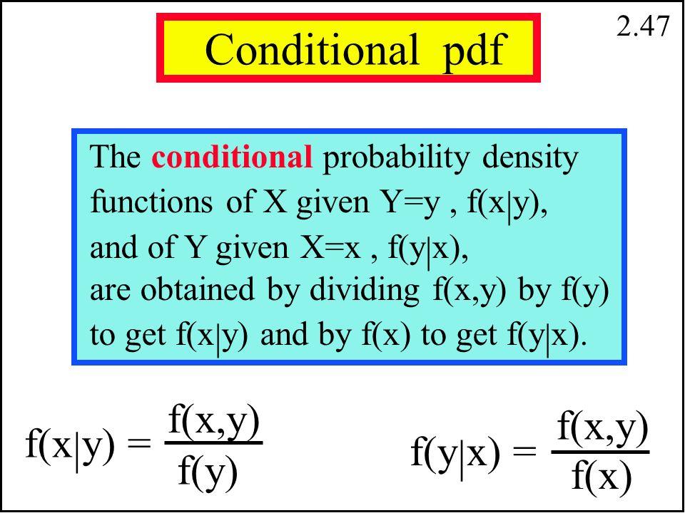 2.46.15.05.45.35 Marginal Probabilitiess Y = 1 Y = 2 X = 0 X = 1.60.40.50 f (X = 1) f (X = 0) f (Y = 1) f (Y = 2) marginal pdf for Y: marginal pdf for