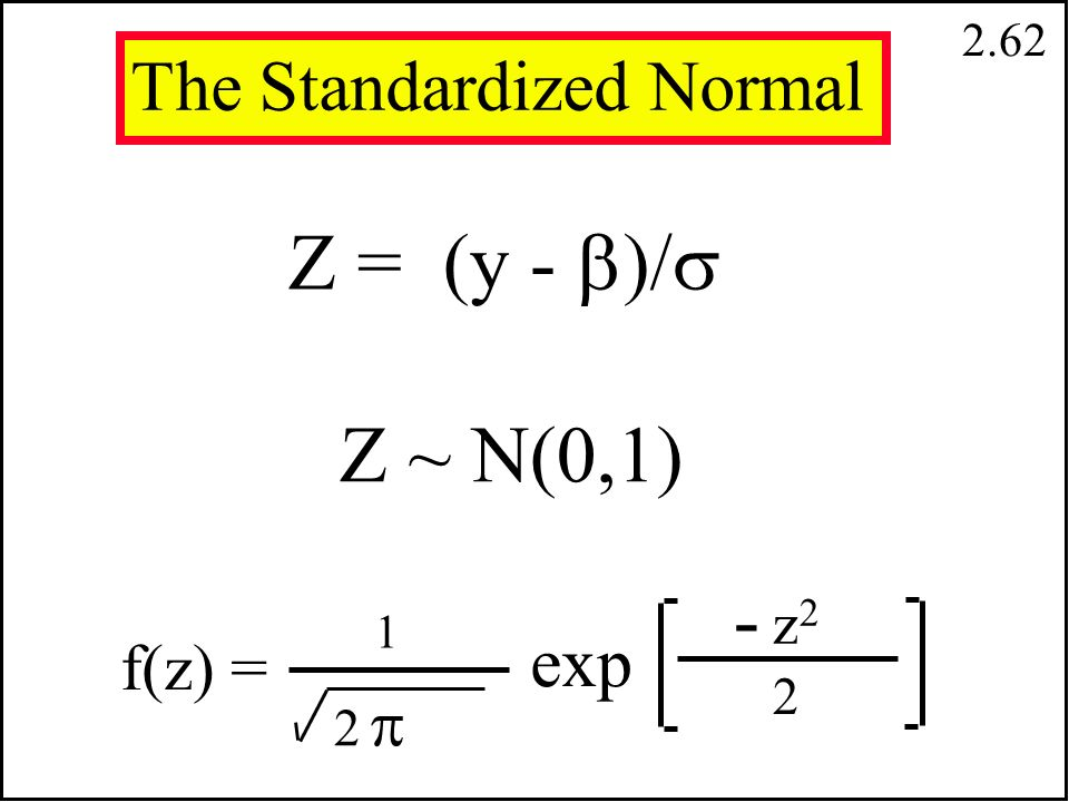 2.61 The Normal Distribution Y ~ N( ,  2 ) f(y) = 2  22  2 1 exp  y f(y) 2  2 (y -  ) 2 -