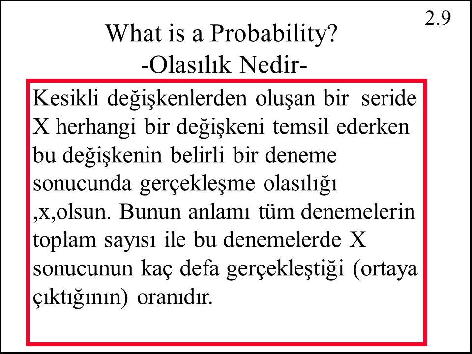 2.8 Probability Distributions -Olasılık Dağılımı- Rassal değişkenlerin dağılımı nedir? farklı sonuçların olasılıklarının birleşimi o serinin olasılıkl