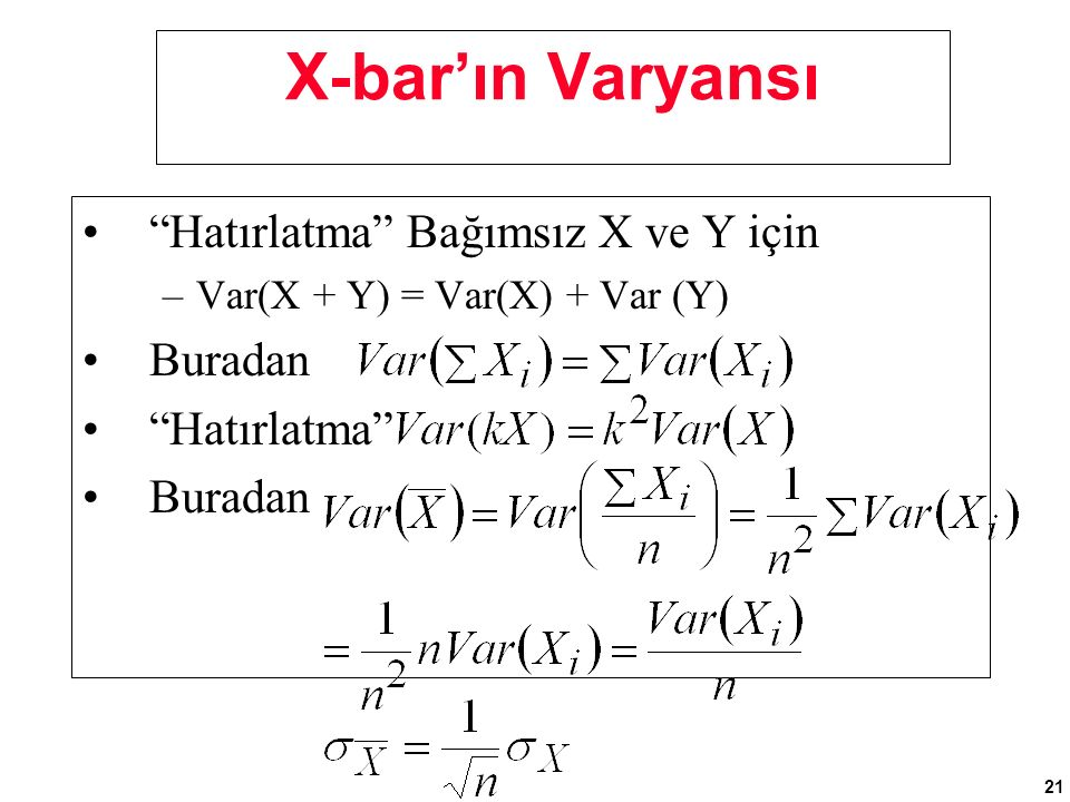 """21 X-bar'ın Varyansı """"Hatırlatma"""" Bağımsız X ve Y için –Var(X + Y) = Var(X) + Var (Y) Buradan """"Hatırlatma"""" Buradan"""