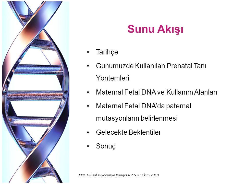 Sunu Akışı Tarihçe Günümüzde Kullanılan Prenatal Tanı Yöntemleri Maternal Fetal DNA ve Kullanım Alanları Maternal Fetal DNA'da paternal mutasyonların belirlenmesi Gelecekte Beklentiler Sonuç XXII.