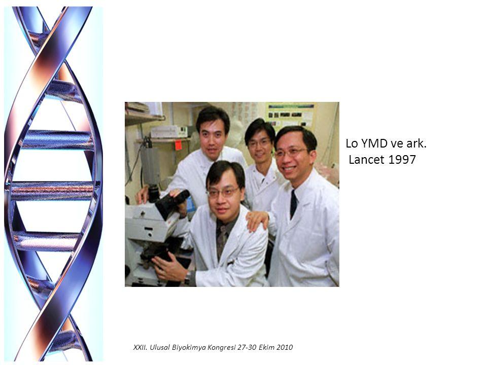 Klinik Tanıda Fetal DNA'nın Kullanım Alanları Fetal cinsiyet tayini Fetal RhD genotiplemesi Tek gen bozukluklarının saptanması Fetal DNA derişimini arttıran hastalıkların tanısı XXII.