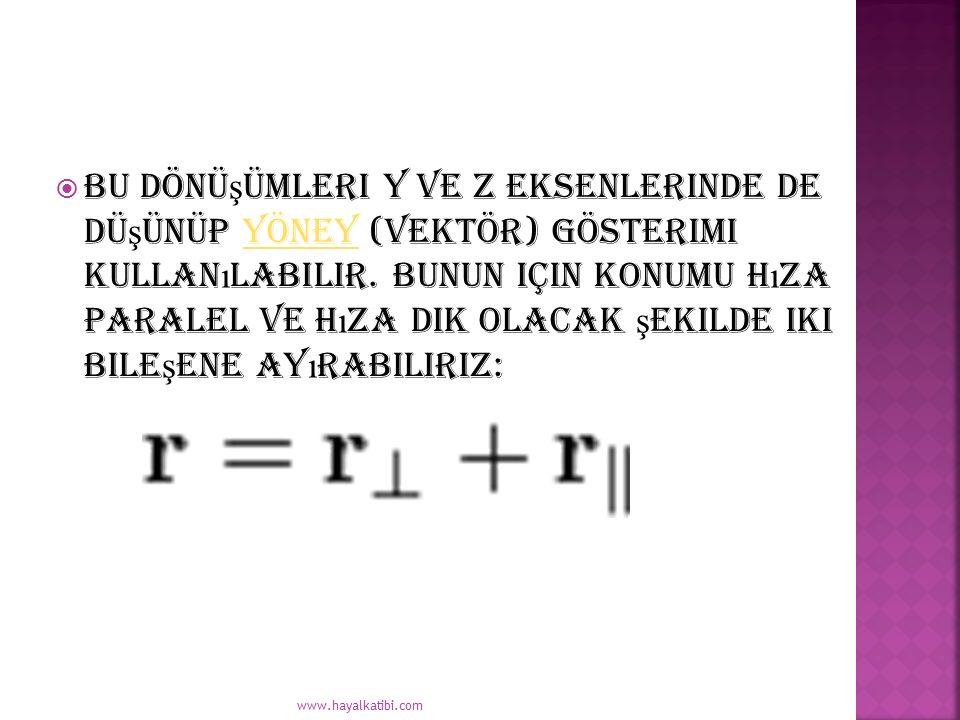  Bu dönü ş ümleri y ve z eksenlerinde de dü ş ünüp yöney (vektör) gösterimi kullan ı labilir. Bunun için konumu h ı za paralel ve h ı za dik olacak ş
