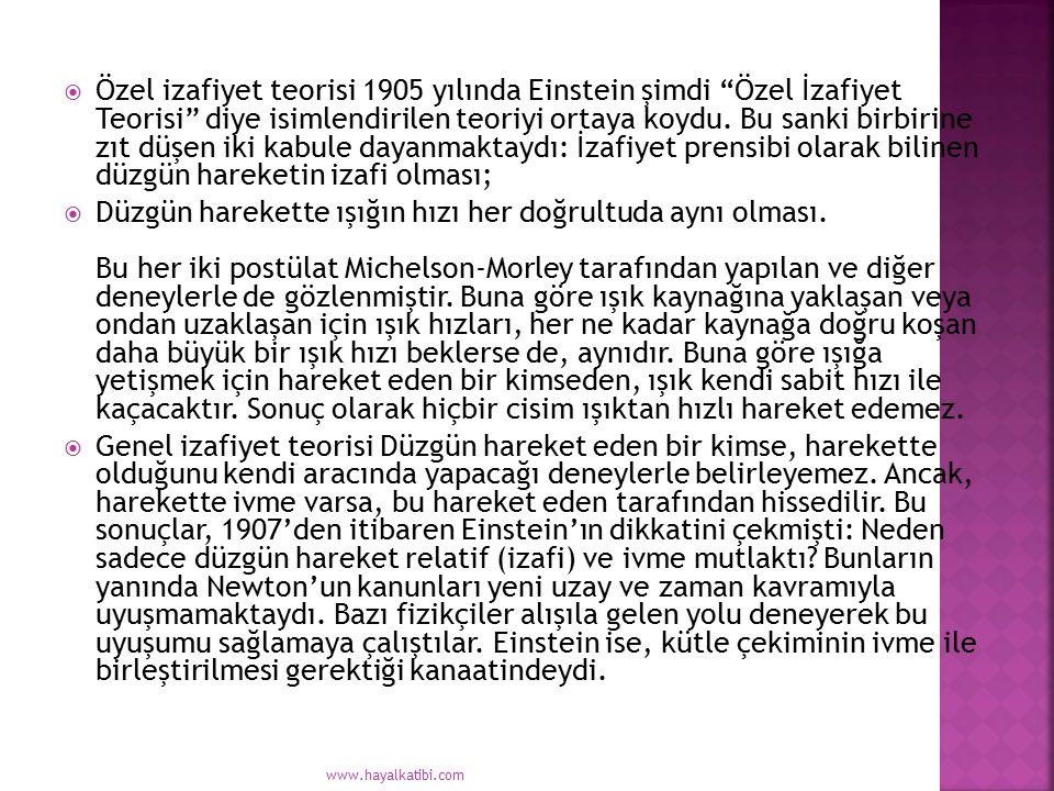 """ Özel izafiyet teorisi 1905 yılında Einstein şimdi """"Özel İzafiyet Teorisi"""" diye isimlendirilen teoriyi ortaya koydu. Bu sanki birbirine zıt düşen iki"""
