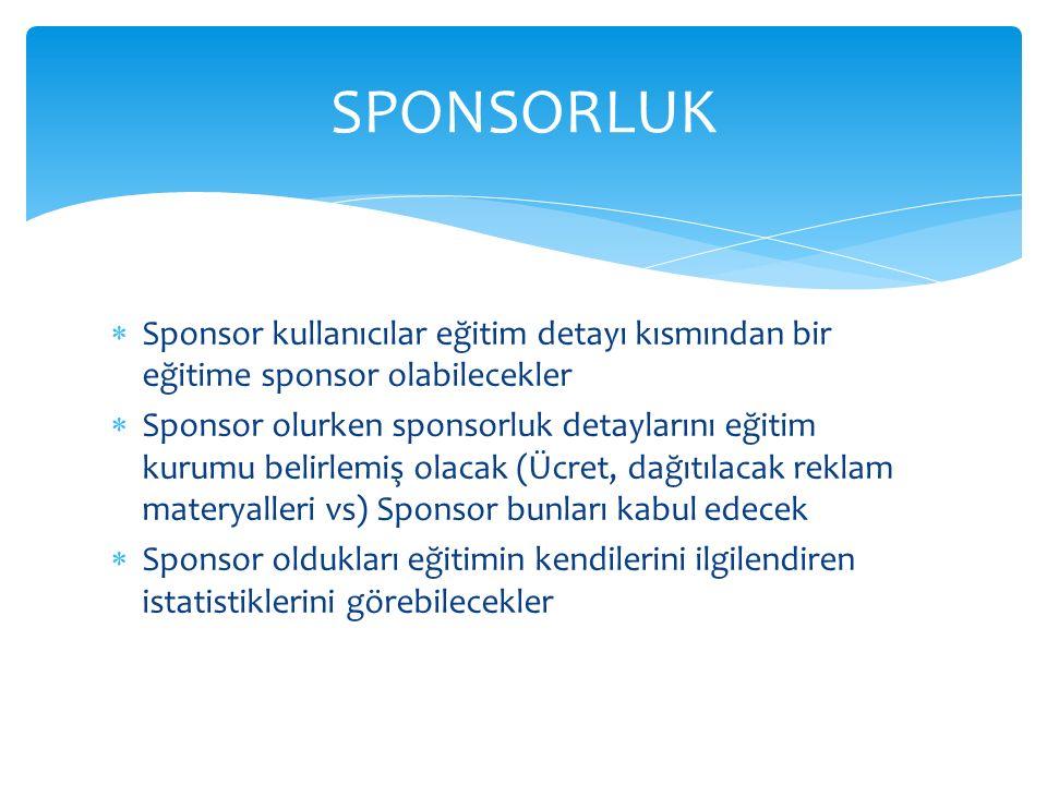  Sponsor kullanıcılar eğitim detayı kısmından bir eğitime sponsor olabilecekler  Sponsor olurken sponsorluk detaylarını eğitim kurumu belirlemiş ola