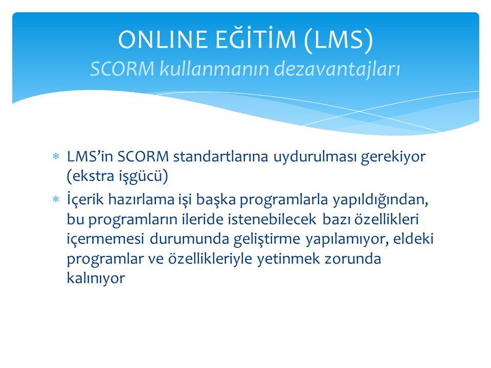  LMS'in SCORM standartlarına uydurulması gerekiyor (ekstra işgücü)  İçerik hazırlama işi başka programlarla yapıldığından, bu programların ileride i