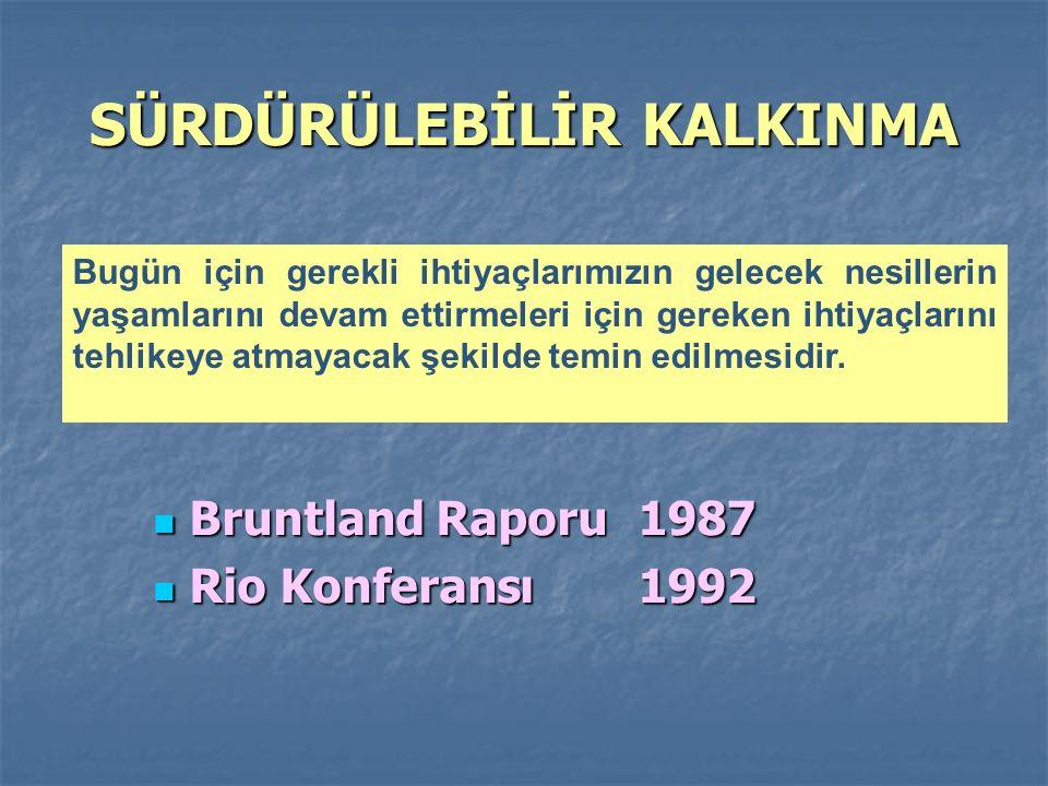 Bruntland Raporu 1987 Bruntland Raporu 1987 Rio Konferansı1992 Rio Konferansı1992 Bugün için gerekli ihtiyaçlarımızın gelecek nesillerin yaşamlarını devam ettirmeleri için gereken ihtiyaçlarını tehlikeye atmayacak şekilde temin edilmesidir.