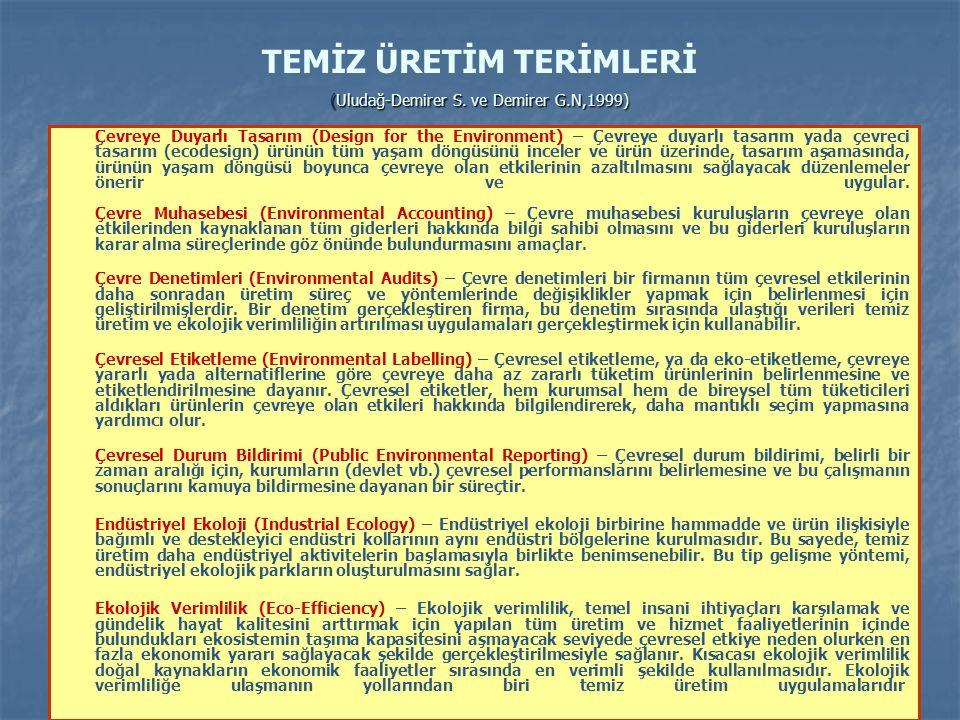 (Uludağ-Demirer S. ve Demirer G.N,1999) TEMİZ ÜRETİM TERİMLERİ (Uludağ-Demirer S.