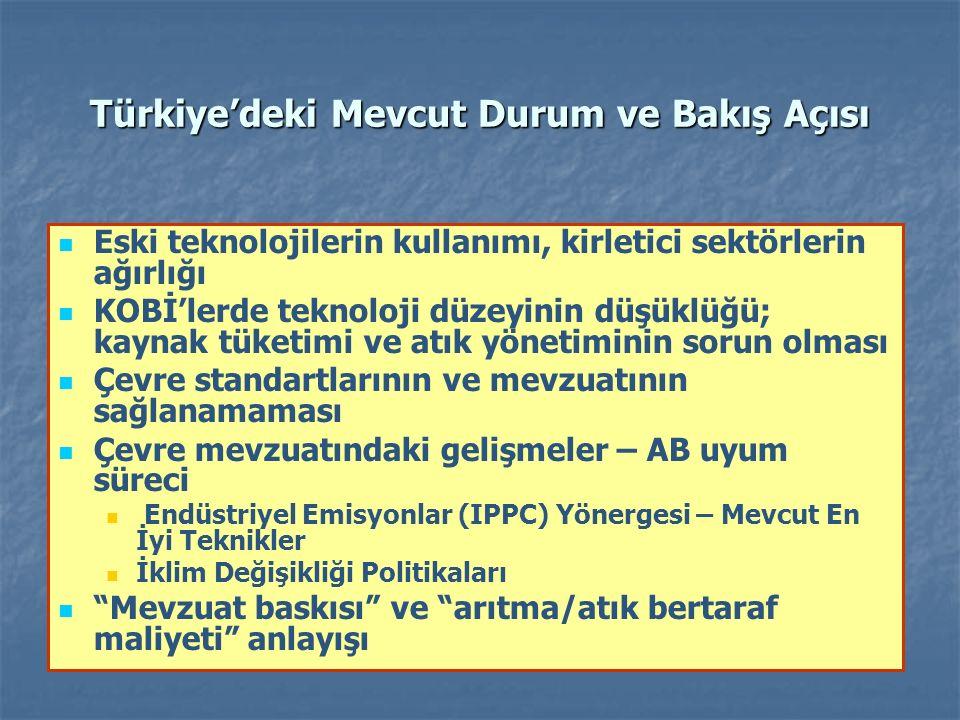 Türkiye'deki Mevcut Durum ve Bakış Açısı Eski teknolojilerin kullanımı, kirletici sektörlerin ağırlığı KOBİ'lerde teknoloji düzeyinin düşüklüğü; kaynak tüketimi ve atık yönetiminin sorun olması Çevre standartlarının ve mevzuatının sağlanamaması Çevre mevzuatındaki gelişmeler – AB uyum süreci Endüstriyel Emisyonlar (IPPC) Yönergesi – Mevcut En İyi Teknikler İklim Değişikliği Politikaları Mevzuat baskısı ve arıtma/atık bertaraf maliyeti anlayışı