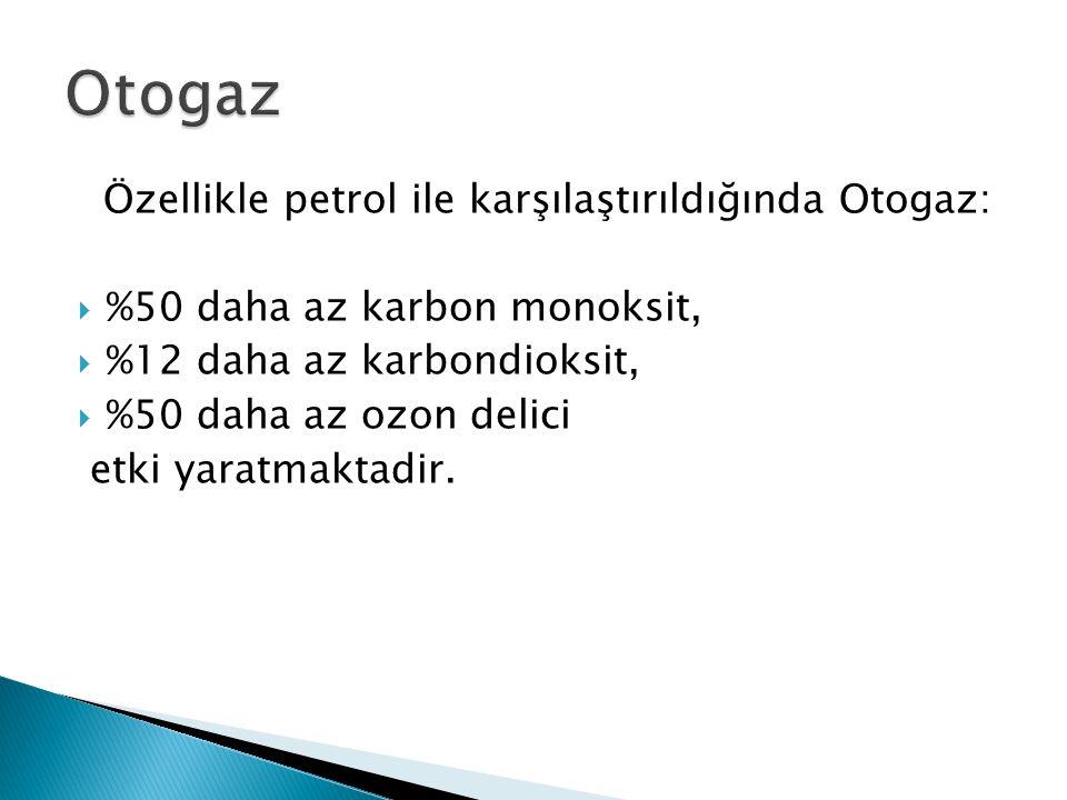 Özellikle petrol ile karşılaştırıldığında Otogaz:  %50 daha az karbon monoksit,  %12 daha az karbondioksit,  %50 daha az ozon delici etki yaratmaktadir.