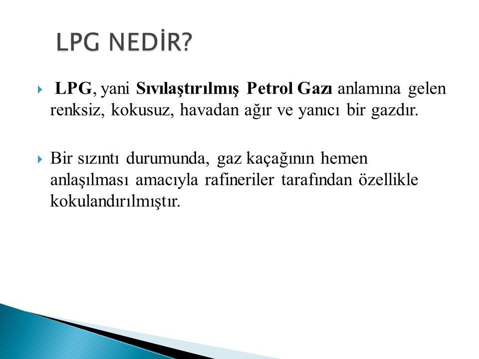  LPG, yani Sıvılaştırılmış Petrol Gazı anlamına gelen renksiz, kokusuz, havadan ağır ve yanıcı bir gazdır.