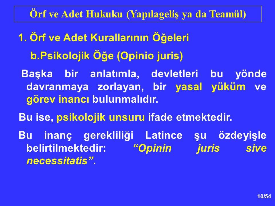 10/54 Örf ve Adet Hukuku (Yapılageliş ya da Teamül) 1. Örf ve Adet Kurallarının Öğeleri b.Psikolojik Öğe (Opinio juris) Başka bir anlatımla, devletler