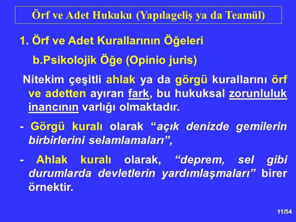 11/54 Örf ve Adet Hukuku (Yapılageliş ya da Teamül) 1.