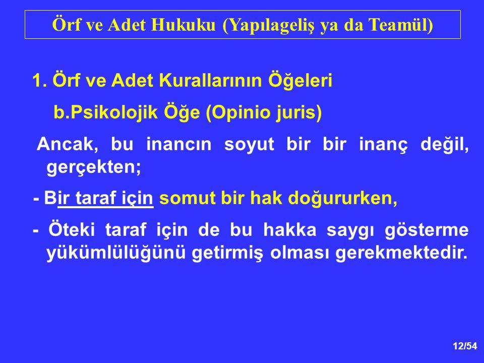 12/54 Örf ve Adet Hukuku (Yapılageliş ya da Teamül) 1.