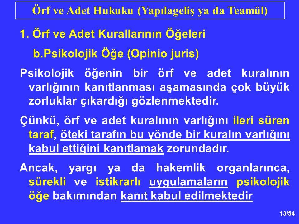 13/54 Örf ve Adet Hukuku (Yapılageliş ya da Teamül) 1.