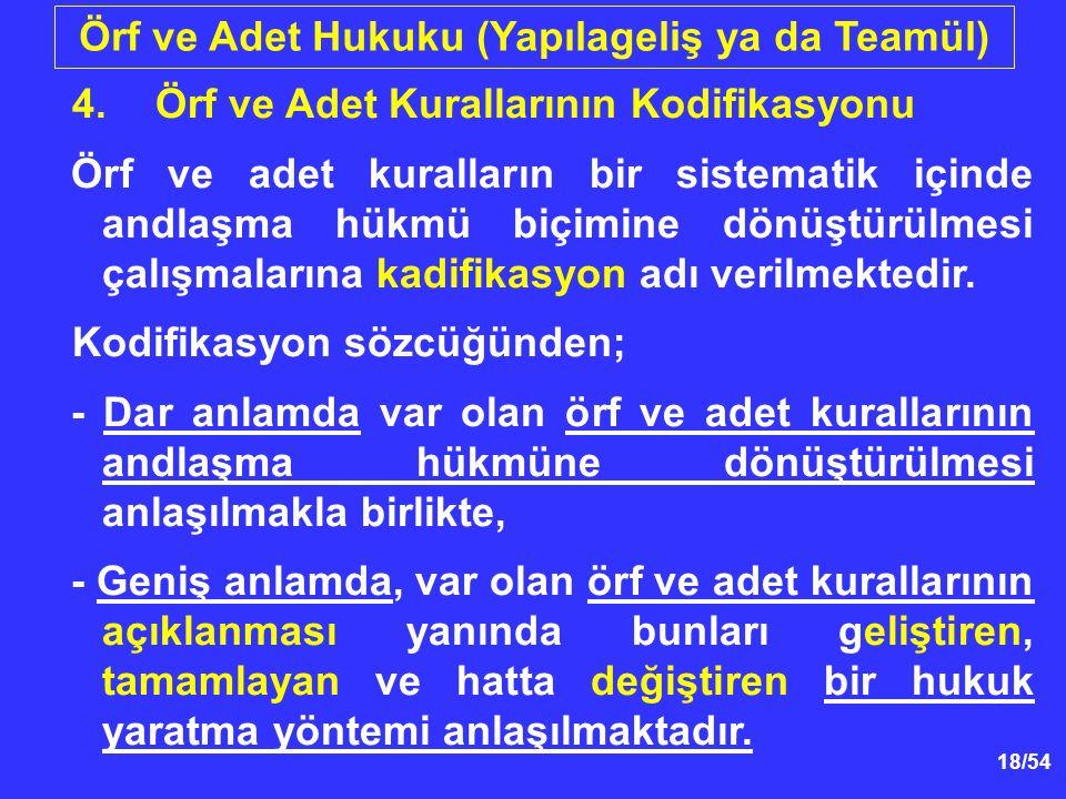 18/54 Örf ve Adet Hukuku (Yapılageliş ya da Teamül) 4.Örf ve Adet Kurallarının Kodifikasyonu Örf ve adet kuralların bir sistematik içinde andlaşma hük