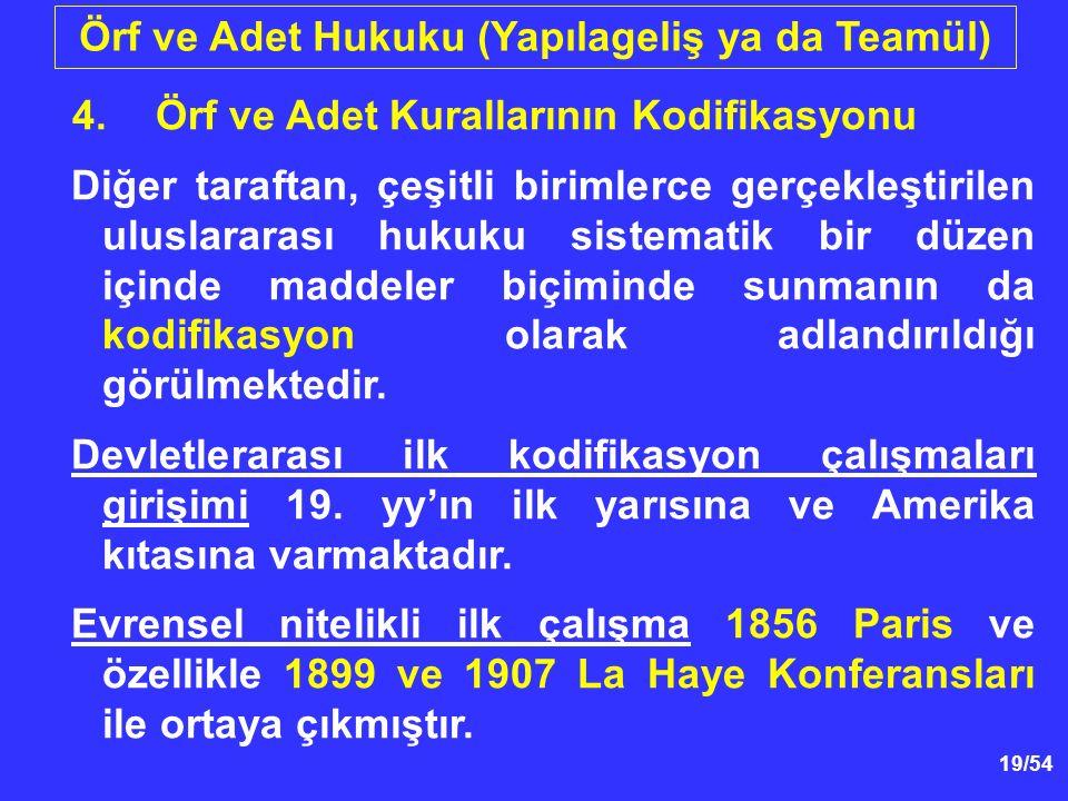 19/54 Örf ve Adet Hukuku (Yapılageliş ya da Teamül) 4.Örf ve Adet Kurallarının Kodifikasyonu Diğer taraftan, çeşitli birimlerce gerçekleştirilen ulusl