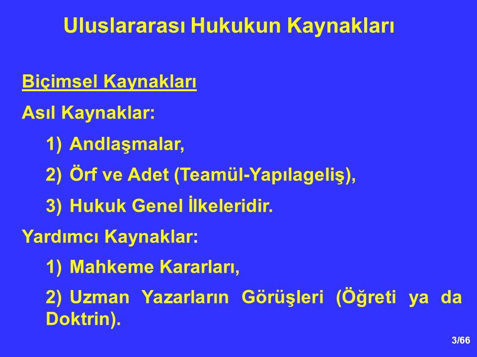 14/54 Örf ve Adet Hukuku (Yapılageliş ya da Teamül) 2.Örf ve Adet Kurallarının Oluşumu UAD Statüsünün 38.