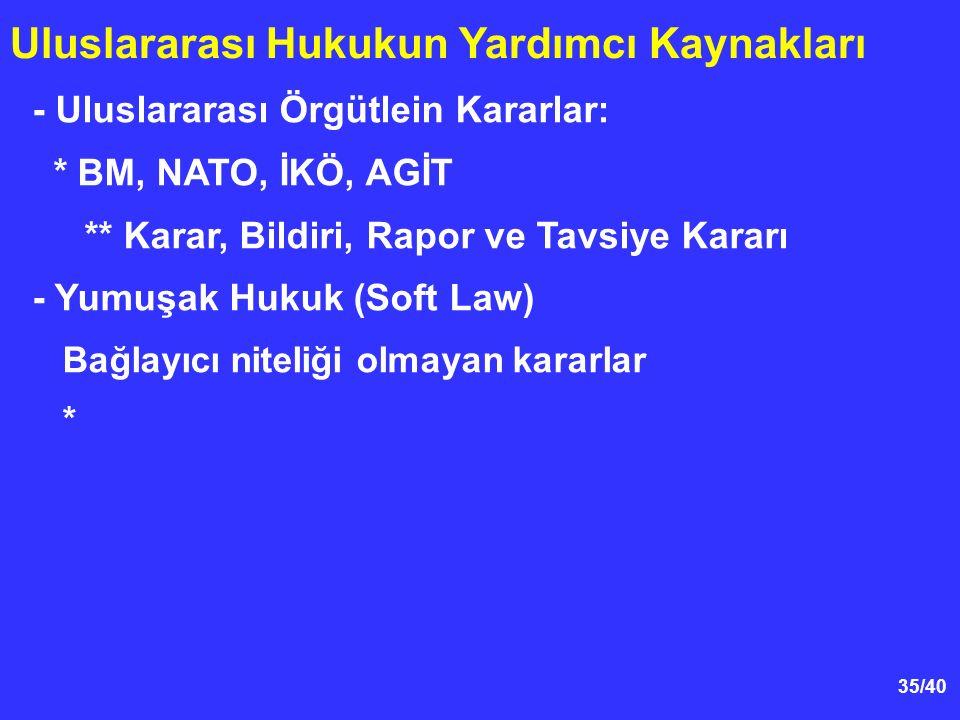 35/40 Uluslararası Hukukun Yardımcı Kaynakları - Uluslararası Örgütlein Kararlar: * BM, NATO, İKÖ, AGİT ** Karar, Bildiri, Rapor ve Tavsiye Kararı - Yumuşak Hukuk (Soft Law) Bağlayıcı niteliği olmayan kararlar *