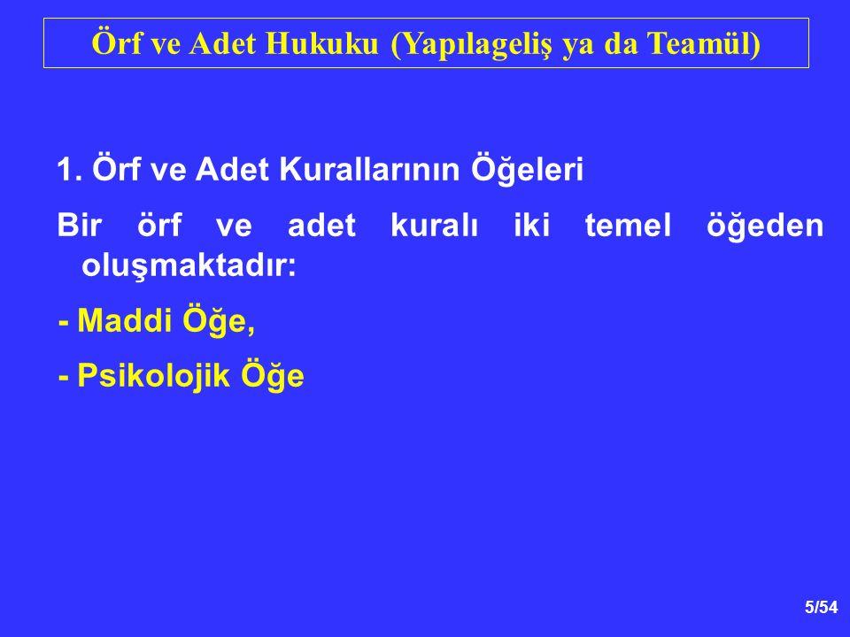 16/54 Örf ve Adet Hukuku (Yapılageliş ya da Teamül) 3.Örf ve Adetin Anlaşmaya Göre Yeri Farklı görüşler vardır.
