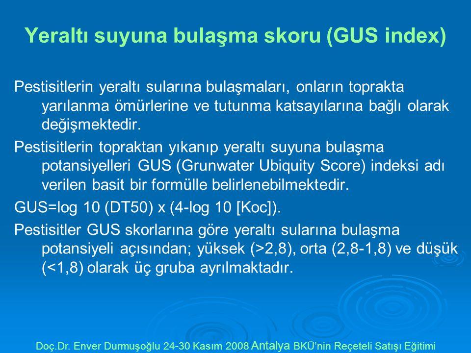 Yeraltı suyuna bulaşma skoru (GUS index) Pestisitlerin yeraltı sularına bulaşmaları, onların toprakta yarılanma ömürlerine ve tutunma katsayılarına bağlı olarak değişmektedir.