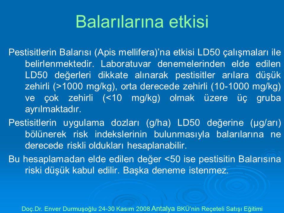Balarılarına etkisi Pestisitlerin Balarısı (Apis mellifera)'na etkisi LD50 çalışmaları ile belirlenmektedir.