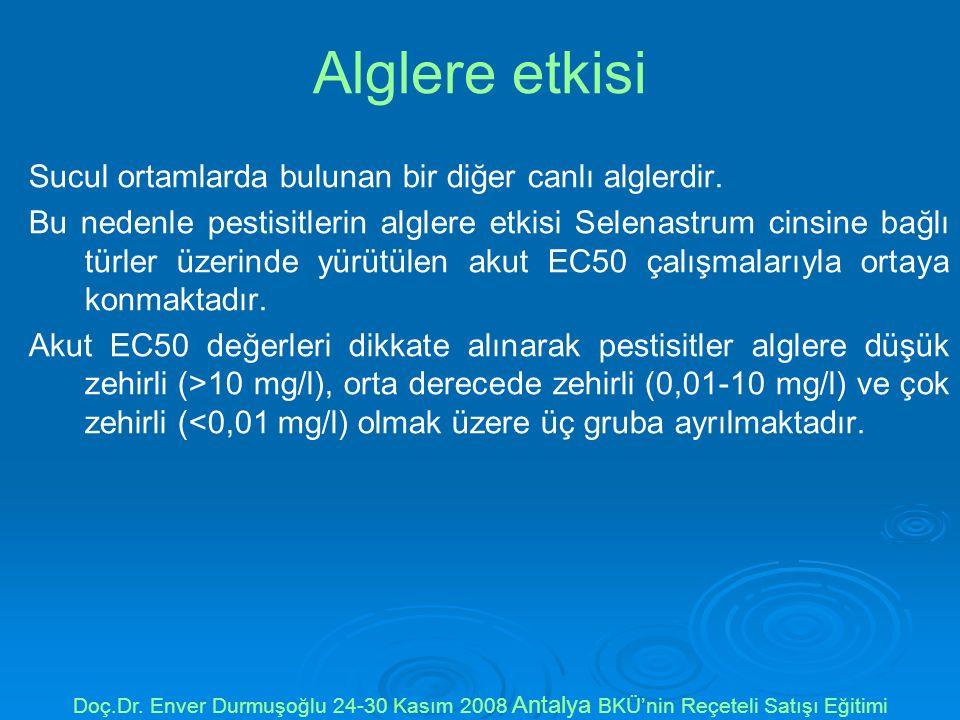 Alglere etkisi Sucul ortamlarda bulunan bir diğer canlı alglerdir.